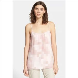 Vince Tonal Square Silk Camisole Pink Large